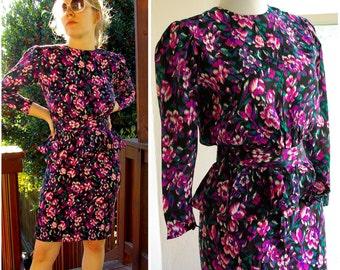 BLANCHE Devereaux 1980's does 40's Vintage SILK Peplum Dress in Black Pink Purple Small