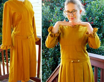 MUSTARD 1960's Vintage Gold Dress with Flower Petal Sleeves