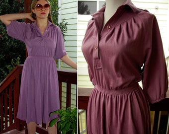 Lavender 1970's 80's Vintage Light Purple Dress with Ruching by Gale Gray