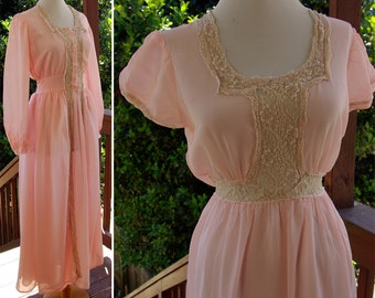 Sweet DREAMS 1930's 40's Vintage Sleepwear Set with Hand Embroidered Gown and Long Robe with Antique Lace XS