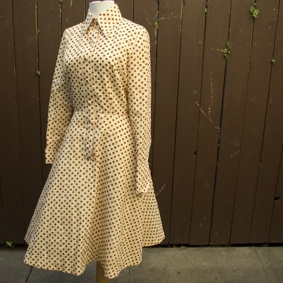 Adorable 1970's Brown and Tan Polka Dot Dress size Small Med by Nicole San Francisco