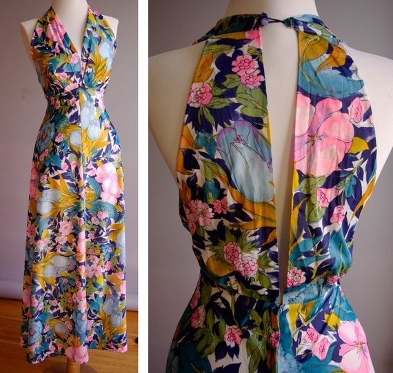 Vintage 1970's Sexy Floral Long Halter Gown in Blue and Pink