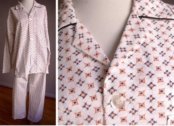 1950's 60's Men's Vintage Pajama Set with Shirt and Pants Medium