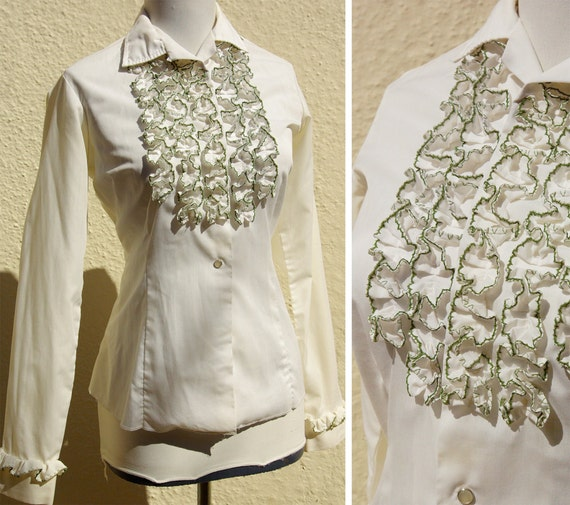 MILLER Western Wear 1950's 60's Ruffled White Olive Green Tuxedo Shirt with Pearl Snaps