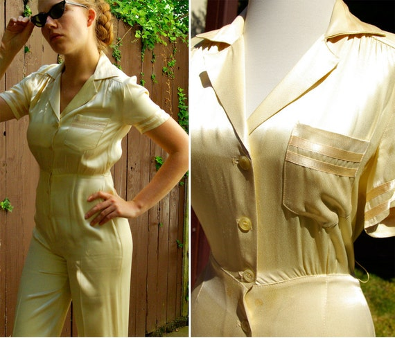 Sexy Sailor Vintage 1960's 1940's Cream Satin Catsuit for Broadway Starlet by Judy Caliendo for TOGETHER