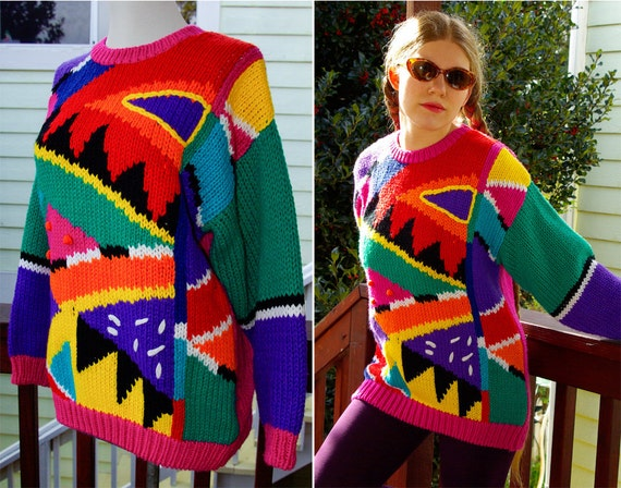 Wild and Wacky Vintage 1980's 90's Rainbow Geometric UGLY Sweater with Colorful Abstract Shapes