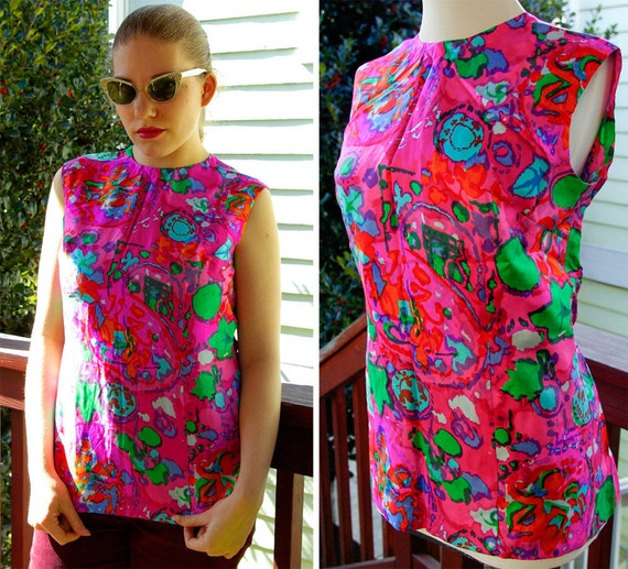 ACID ROCK 1960's Vintage Psychedelic SILK Hot Pink Blouse with Abstract Designs
