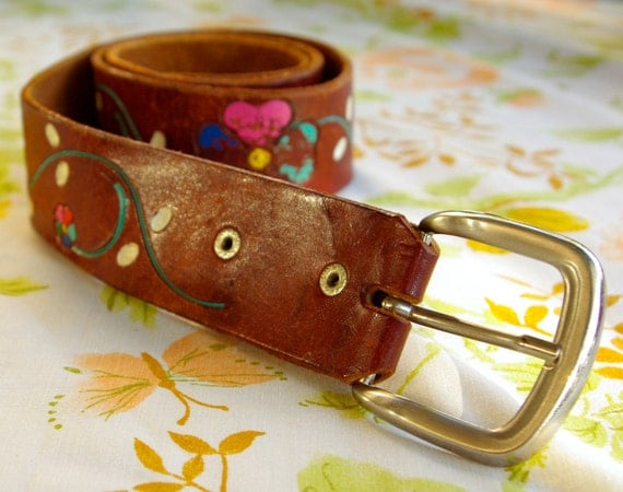 RAINBOW Flowers 1970's Vintage Brown Tooled Leather Belt with Colorful Flowers