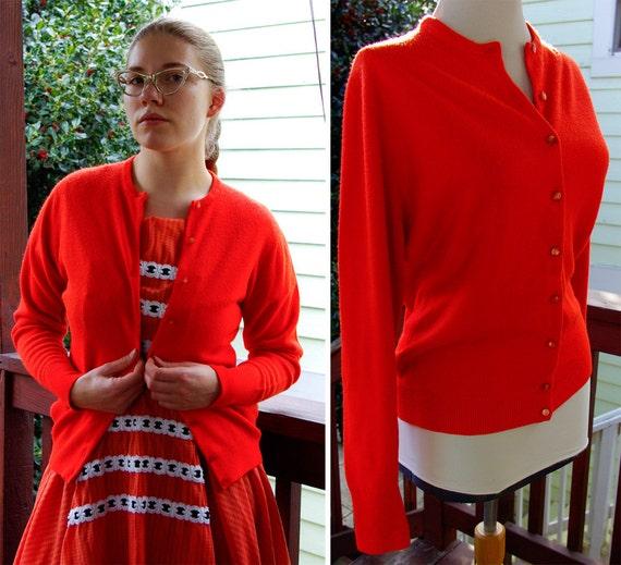 TANGERINE Orange 1950's 60's Vintage Acrylic Cardigan Sweater by TALBOTT Taralan size Medium
