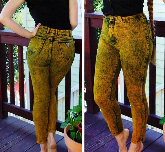 JUICY Tangerine 1980's 90's Vintage Sexy Acid Wash Orange & Black SKINNY Jeans by FLAME size 4