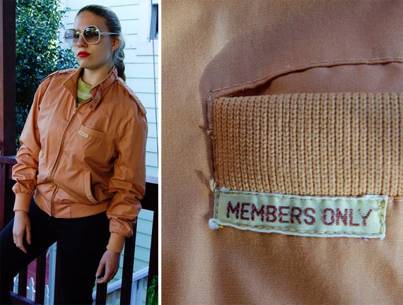 MEMBERS ONLY 1980's Vintage Light Brown Jacket with Neck Snaps and Fitted Waist size 42