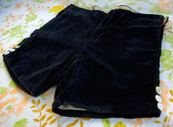 Reserved // EDWARDIAN 1890's 1900's 1910's Vintage Child's Black Velvet Shorts with Suspender Holes and Original Shell Buttons