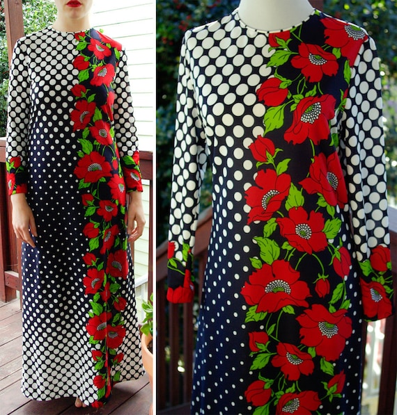 Reserved // MOD to the MAX 1960's 70's Vintage Navy Blue Polyester Dress with White Polka Dots and Red Flowers