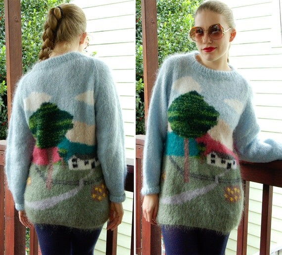 S. FISHER London 1970's Vintage Mohair Sweater with A Country Landscape Scene size Medium