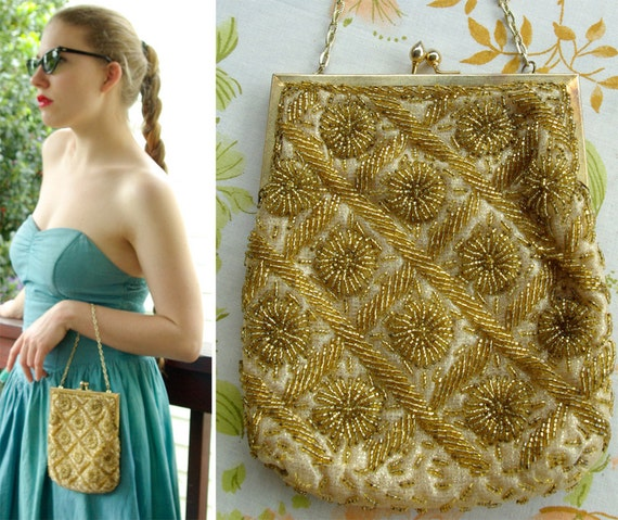 GOLD Rush 1960's Vintage Golden Beaded Frame Purse with Gold Chain Richere Bag by Walborg