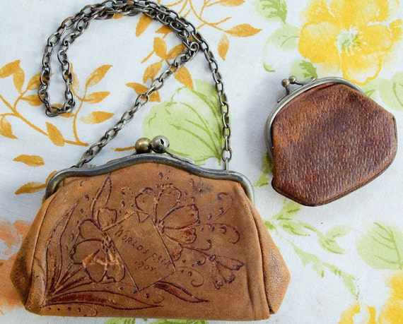 RESERVED 1904 WORLD'S FAIR Original Antique Souvenir Purse & Wallet with Tooled Flowers circa 1900's St Louis Louisiana Purchase Exposition