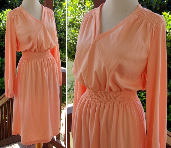 Georgia PEACH 1970's Vintage Polyester Dress with Cinched Waist and Ruching Long Sleeves