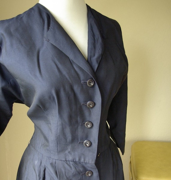 Sophisticated 1940's R&K Originals Vintage WWII Navy Blue Rayon Dress with Bakelite Buttons