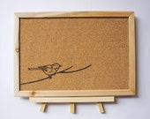 Woodburned Cork Board With Stand - Bird on Branch
