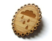 Rain Cloud Pin. Cloud Cameo. Cloud Pin. Cameo Pin. Cameo Brooch. Wood Cameo. Bamboo Pin. Laser Cut Pin. Gifts Under 20. Gift for Mom. Cloud