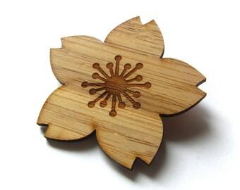 Cherry Blossom Pin. Cherry Blossom Brooch. Flower Pin. Flower Brooch. Wood Brooch. Wood Pin. Bamboo Pin. Laser Cut Pin. Teacher Gift. Flower