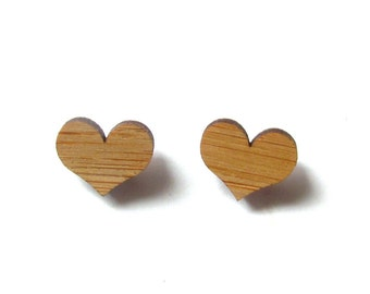 Little Hearts. Heart Earrings. Wood Earrings. Stud Earrings. Laser Cut Earrings. Bamboo Earrings. Gifts For Her. Gift For Women. Valentines