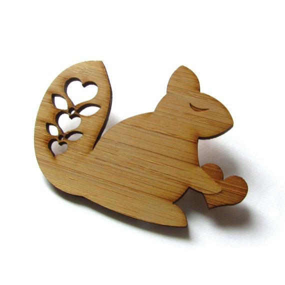 Happy Squirrel Pin. Squirrel Pin. Squirrel Brooch. Wood Brooch. Wood Pin. Bamboo Pin. Laser cut Pin. Gifts under 20. Gifts for her. Squirrel
