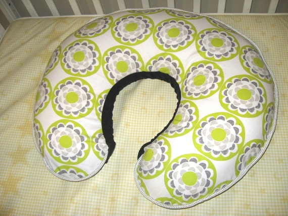 Boppy Pillow Cover - Green and Gray