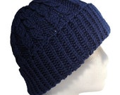 The Guy Hat - Dueling Cables Navy Blue Wool Knit Hat