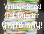 SALE - Vintage Sheet 10 Fat Quarter GRAB BAG