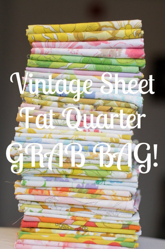 Vintage Sheet 10 Fat Quarter GRAB BAG