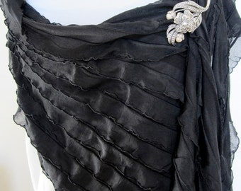 Women's black shawl, silky ruffled shawl, black fabric pashmina, pashmina wrap, black stole, women's shawls, black silky shawl, dressy shawl