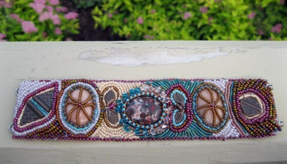 Women's cuff bracelet bead embroiderd with cabochons and seed beads, bronze pieces, crazy lace agate, beaded cuff bracelet, a wrist cuff.