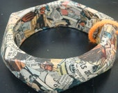 revamped muted color comic book collage bangle