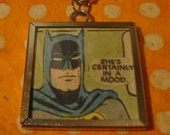she's certainly in a mood batman comic book original collage necklace