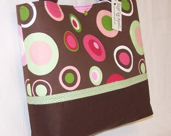 Pink Green Mocha Circle Dots purse tote Bags by April