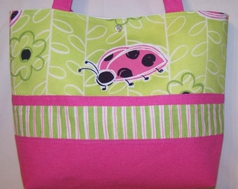 Pink Ladybug purse tote Bags by April