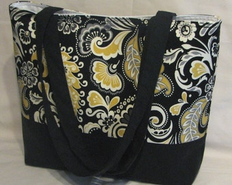 Black Paisley Floral purse tote Bags by April SALE