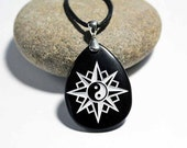 Yin Yang Compass Rose Engraved Stone Pendant - Direction and Balance on Black Stone
