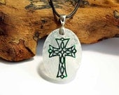 Celtic inspired Cross - Etched Glass Pendant