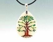Tree of Life - Engraved Stone Pendant - Yellow Jade