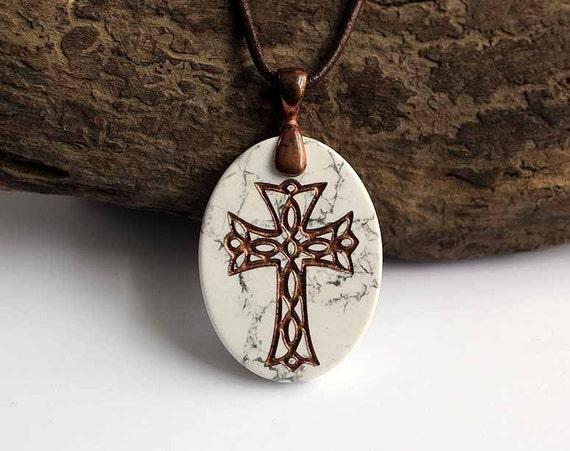 Celtic inspired Cross - Engraved Stone Pendant - White Howlite