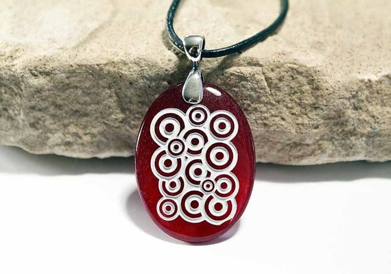 Bubbles - Etched Ruby Red Glass Pendant Necklace