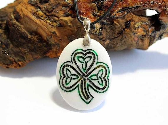 Celtic Shamrock - Engraved Stone Pendant - White Jade