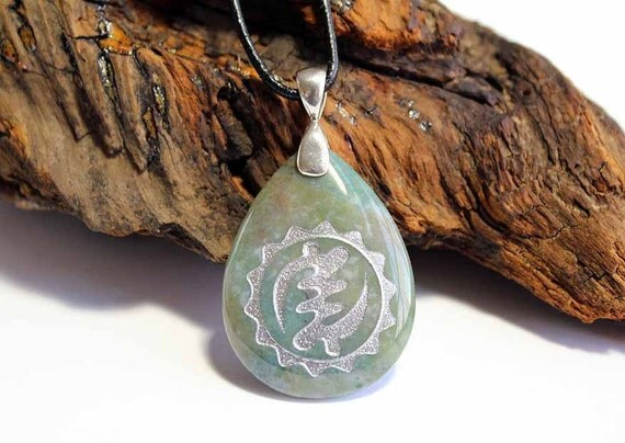 Nyame Ye Ohene - African Adinkra for God is King - Engraved Stone Pendant - Indian Agate