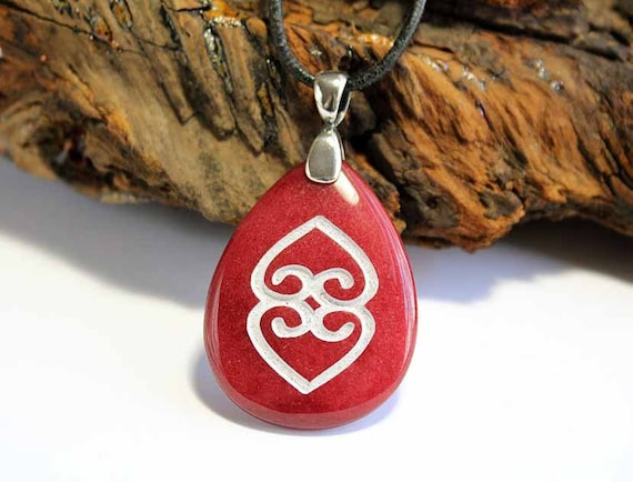 Asase Ye Duru - Engraved Stone Pendant - African Adinkra Symbol - Divinity of Mother Earth