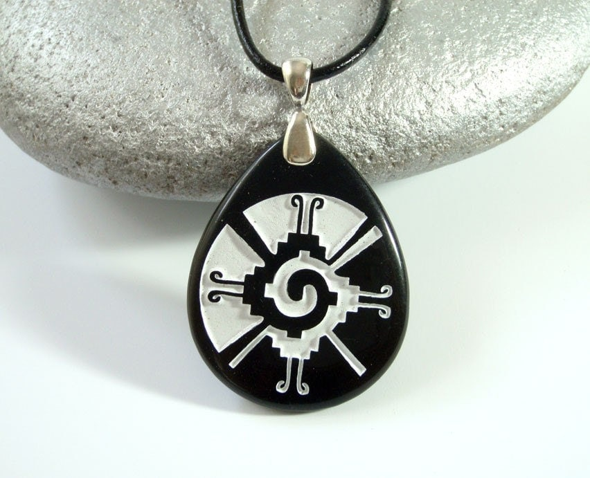 hunab ku engraved black onyx pendant by