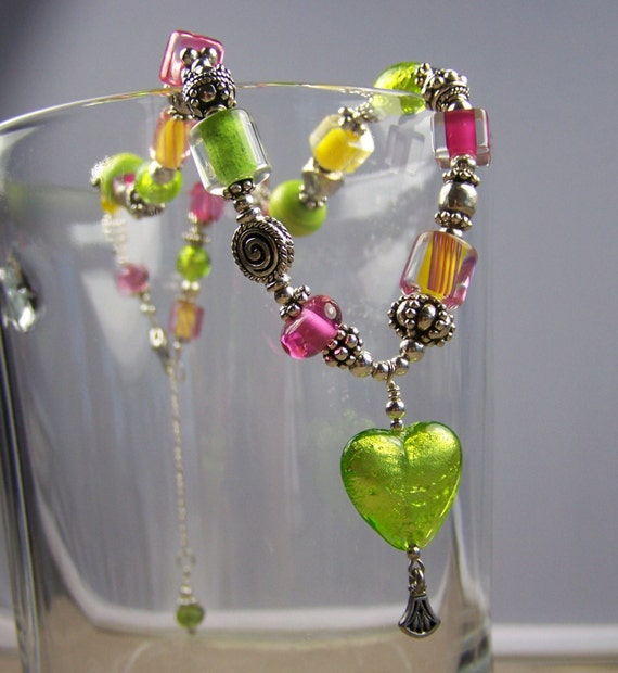 Lime Venetian Glass Necklace