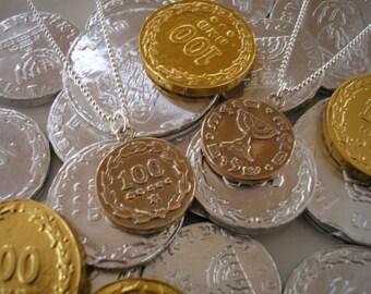 bronze Chanukah gelt necklace