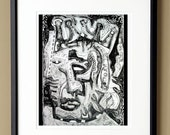 King and the Crown - 8 x 10 Fine Art Matted Print Black and White